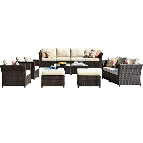 ovios Patio Furniture Set 12 PCS Outdoor Furniture Conversation Set PE Rattan Wicker Sectional with 4 Pillows and Coffee Table, Backyard Sofa, No Assembly Required (Beige)