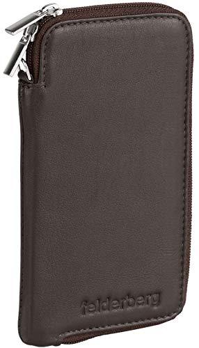 felderberg Handytasche aus feinstem Echt-Leder mit Reißverschluss und Handschlaufe, für bis 6,3 Zoll Smartphones geeignet (Braun)