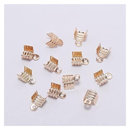SS01 - 200 conectores de hebilla de cordón de oro para suministros de joyería DIY YC607 (color: 4, tamaño: 8 x 11 mm)