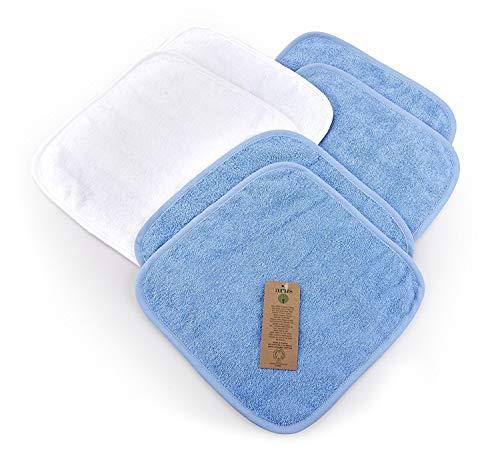 6 Toallas de Bebé, 4 Azul claro y 2 Blanco, 30x30 cm, 100% Algodón orgánico