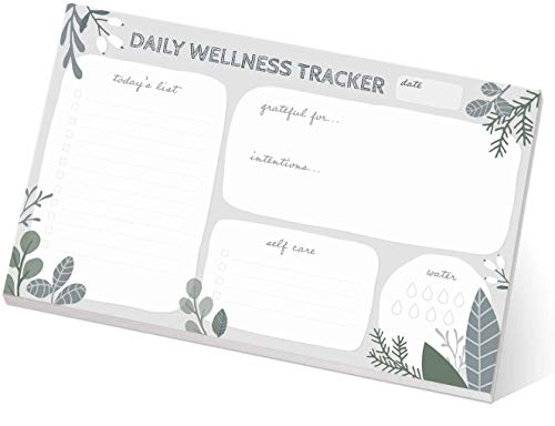 Motivational Wellness Sticky Notepad/Fitness Journal Repositionable Notepad Desk Set/Neutral Floral Daily to-Do Pad