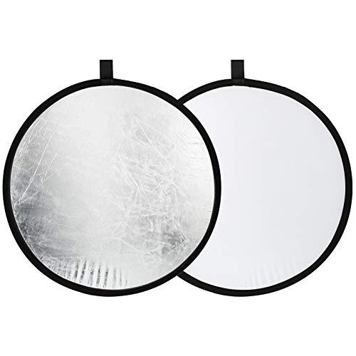 TARION Reflektor Fotografie Cardboard 3 in 1 Reflektorpanel, 21 x 29,7cm Licht Diffusor Brett Hintergrund für Stillleben, Produkt, Lebensmittel Fotografie Shooting, Schwarz, Silber und Weiß (60cm)