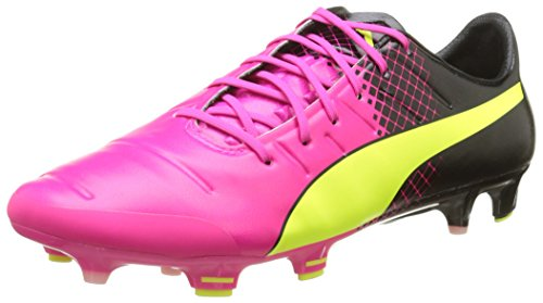 Puma evoPOWER 1.3 Tricks FG, Herren Fußballschuhe, Rosa (pink glo-safety yellow-black 01), 44 EU (9.5 UK)