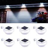 Lot de 6 lampes solaires pour gouttières, lampes solaires d'extérieur avec support réglable, pour clôture, jardin, mur, cour (blanc)