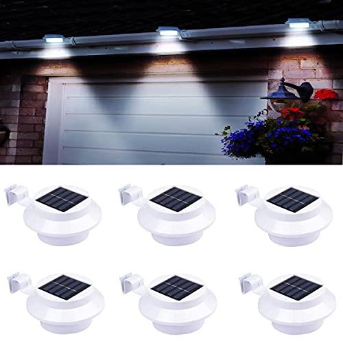 Dachrinnen Solarleuchten, Solarlampen für Außen mit verstellbarer Halterung, wasserdichte Zaun-Wandleuchte für Garten, Wand, Hof (weiß) [6 Stück]