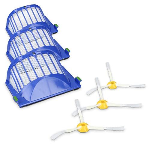 kwmobile Set de 3 cepillos Laterales y 3 filtros de Repuesto compatibles con Roomba - Serie 600 - Recambio de escobilla y Filtro para Robot Aspirador