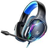 【春のビッグセール31%OFF!】LUCKRACER ゲーミングヘッドセット ヘッドホン ps4 ヘッドセット ps5 ヘッドホン ゲーミングヘッドホン ヘッドホン 有線 マイク付きヘッドホン ヘッドフォン 重低音 高音質 3.5mm端子 PS4 PS5 SWITCH スマホ PCに対応(K1-blue)