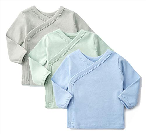 SYCLZ Unisex-Baby 100% Cotton Long Sleeve Side-Snap Shirts Soild Color Kimono Tees 0-12M (6-12M, Blue/Green/Gray)