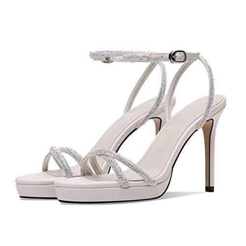 Sandalias correa de tobillo para mujer,Zapatos de tacón de tacón Sandalias para mujer de fiesta de fiesta de fiesta,Beige- 36.5/UK 4/US 6