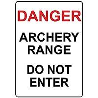 危険なアーチェリーの範囲は入らないでください。金属スズサイン通知道路交通道路危険警告耐久性、防水性、防錆性