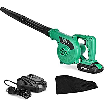 KIMO Cordless Leaf Blower, 20V Lithium Battery Powered Compact 2 in 1 Sweeper & Vacuum for Clearing Dust, Leaf & Snow, Car Vacuum, Patio/Deck/Garden Cleaning, Garage Dusting