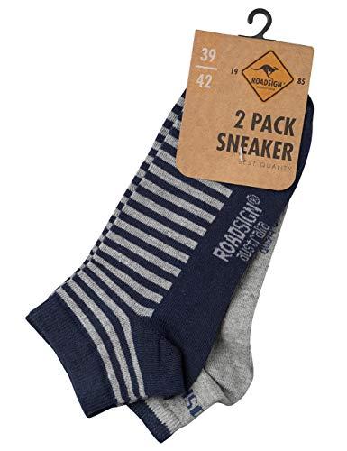 ROADSIGN australia Socken gestreift/uni, im 2-er Pack, grau/navy | 39-42