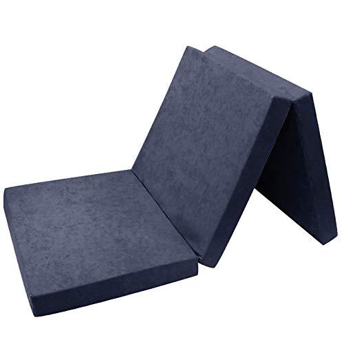 Matelas d'appoint Pliable pour lit d'appoint 195 x 80 x 9 cm Bleu