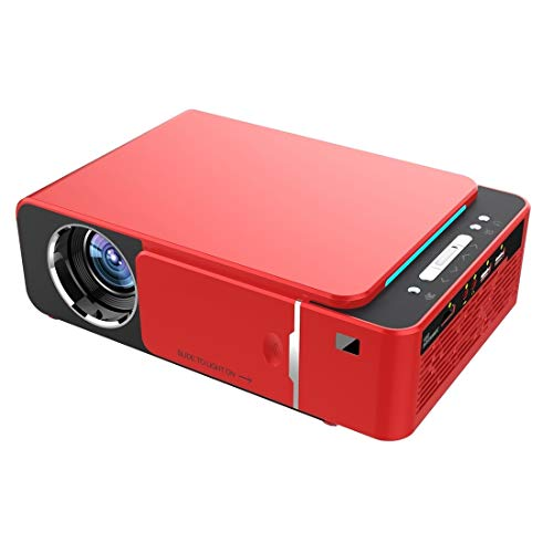 SUNHM 3500 lúmenes ANSI 1080P tecnología LCD mini proyector portátil de teatro HD, versión estándar, soporte HDMI, AV, VGA, USB (color: rojo)