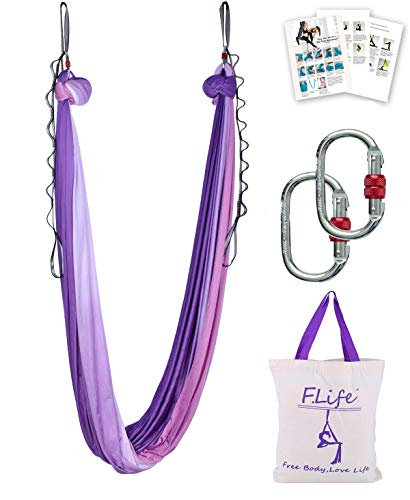 Aerial Yoga Hammock 5.5 Yards Premium Aerial Silk Fabric Yoga Swing for Antigravity Yoga Inversion Include Daisy Chain,Carabiner and Pose Guide (Purple Pink Ombre)