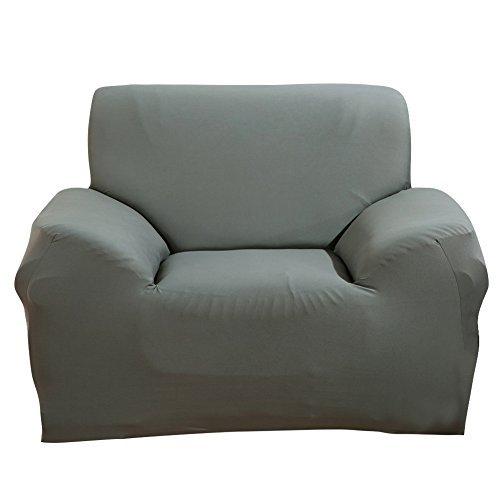 SHANNA Funda para sofá de 1 2 3 4 Sofá Funda de sofá de Tela elástica, Tela, Gris, 1-Seater Chair + 1pcs Free Pillowcase