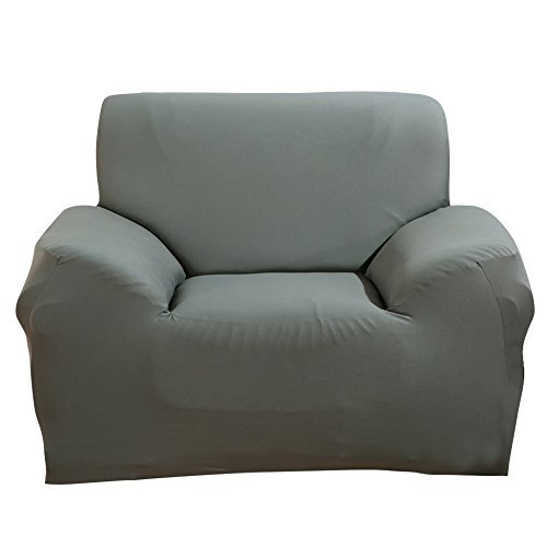 SHANNA - Funda elástica para sillones y sofás de 1, 2, 3 o 4plazas, cubierta antideslizante en tejido elástico extensible, protector, tela, Gris, 1-Seater Chair + 1pcs Free Pillowcase