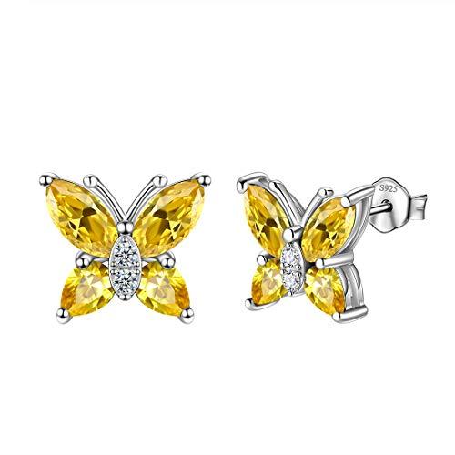 Aurora Tears, collana e orecchini in argento Sterling 925, con ciondolo a forma di farfalla, ideale come regalo per donne e ragazze e Orecchini., colore: K.Yellow-citrine., cod. DE0160N-EU