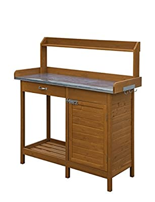 Convenience Concepts Deluxe Potting Bench with Cabinet, Light Oak