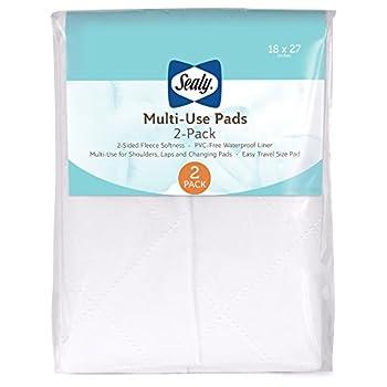 "Sealy Multi-Use Waterproof Fleece Liner Pads  2-Pack White 18"" x 27"""