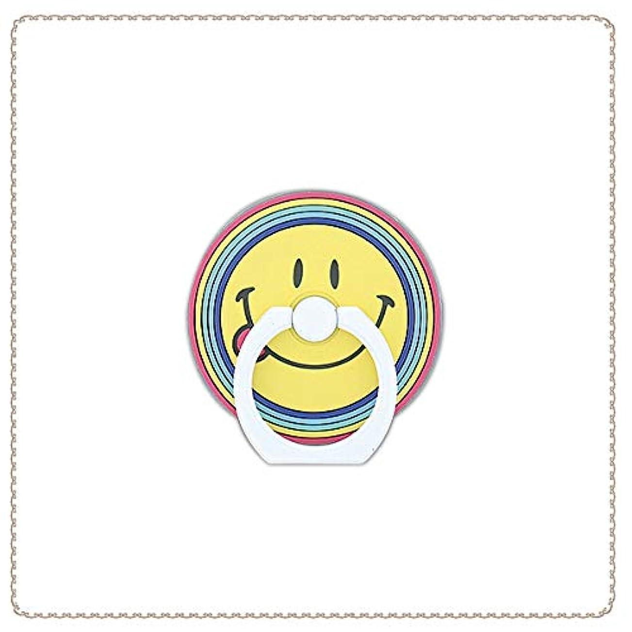 八百屋痛い避ける【フラワーリング】FLOWERING スマートフォンリング(Smiley)(ラバータイプ) スマイリーフェイス SARS001-MT(マルチ) [各種スマートフォン用]
