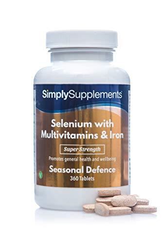 Selenio 220 mcg con Vitamina C, Multivitaminas y Hierro - ¡Bote para 1 año! - 360 Comprimidos - SimplySupplements