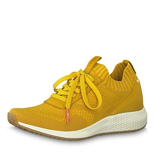 Tamaris Damen Schnürhalbschuhe 23714-23, Frauen sportlicher Schnürer, Halbschuh schnürschuh strassenschuh Sneaker schnürer,Yellow,36 EU / 3.5 UK