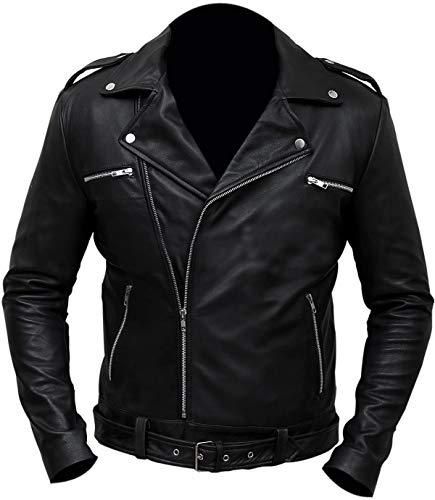 LP-FACON Jeffrey Dean Morgan The Walking Dead Negan Brando - Chaqueta motorista de piel negra