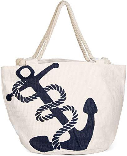 styleBREAKER Strandtasche in Flechtoptik mit Anker Print und Reißverschluss, Shopper, Badetasche, Damen 02012060, Farbe:Creme-Weiß