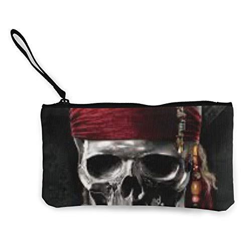 Monedero de tela con diseño de esqueleto, de piratas, bolsa de cosméticos con cremallera, bolsa para teléfono móvil con asa
