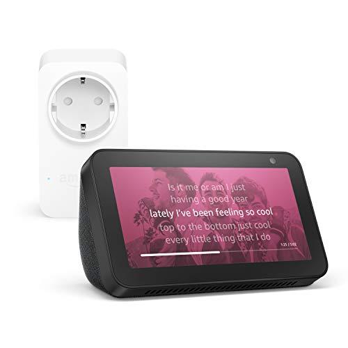 Echo Show 5, Negro +Amazon Smart Plug (enchufe inteligente wifi), compatible con Alexa