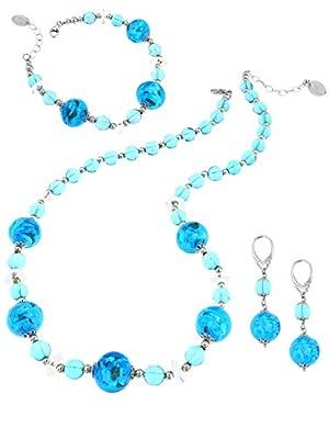 Venetiaurum - Set Composé D'un Collier, Un Bracelet Et Des Boucles D'Oreilles Avec Perles En Verre Original De Murano Et Argent 925 -
