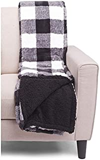 Well Dressed Home Decorative Plush Flees Holiday Throw Blanket Toss Black White Gray Buffalo Style Plaid Wide Stripes - Koda, Faux Fur