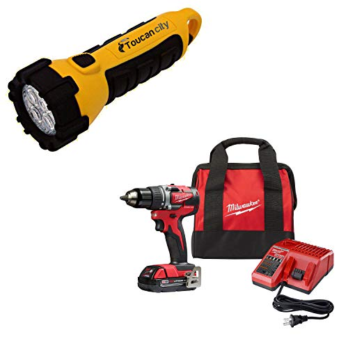 Toucan City LED Flashlight and Milwaukee M18 18-Volt Lithium-Ion Brushless Cordless 1/2 in. Compact Drill/Driver with (1) 2.0 Ah Battery, Charger and Tool Bag 2801-21P