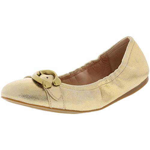 COACH Womens Stanton Ballet Leather Closed Toe Casual Slide Gold