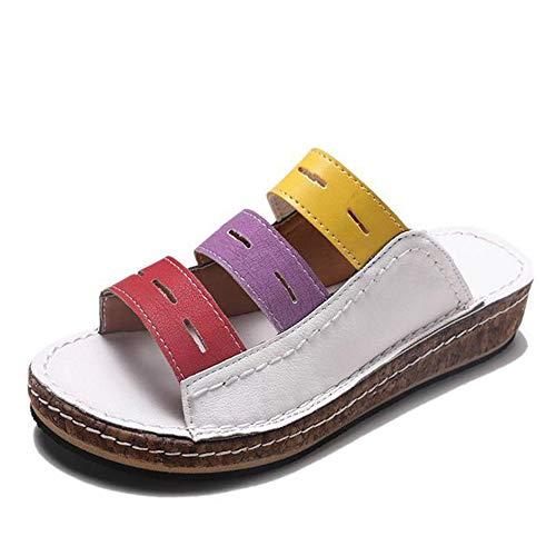 Zapatillas De Verano para Mujer, Zapatillas De Boca De Pescado Hueco, Cuña De Gran Tamaño con Zapatillas De Plataforma, Sandalias Y Zapatillas De Punta Hueca Casuales,Blanco,38