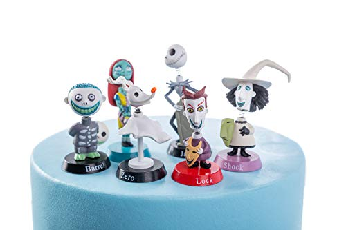Nightmare Before Christmas Jack Skeleton 6 Piece Birthday Cake Topper Set Featuring 2' Figure Set