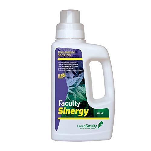 GreenFaculty - Sinergy - Fertilizante Abono Ecológico Rico en Silicatos para Plantas. Silicio Silicate Profesional. Cultivo de Interior y Exterior. 500 mL
