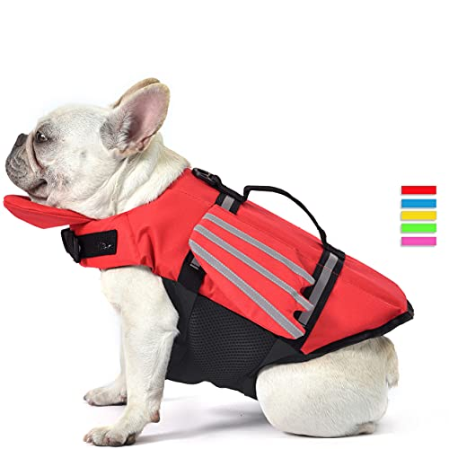 Dog Life Jacket, Wings Design Pet Life Vest, Dog Flotation Lifesaver Preserver Swimsuit with Handle for Swim, Pool, Beach, Boating, for Puppy Small, Medium, Large Size Dogs