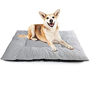 PrimePets Dog Crate Mat, 36×24 inch, Soft Anti-Slip Pet Crate Pad for Small Medium Large Dogs, Washable Cage Kennel Sleeping Bed Liner, Gray
