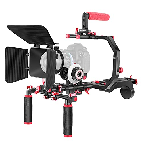 """Neewer Shoulder Rig Kit for DSLR Cameras and Camcorders, Movie Video Film Making System with Matte Box, Follow Focus, C-Shaped Bracket, 15mm Rods, Handgrip, 1 4"""" & 3 8"""" Threads (Red + Black)"""