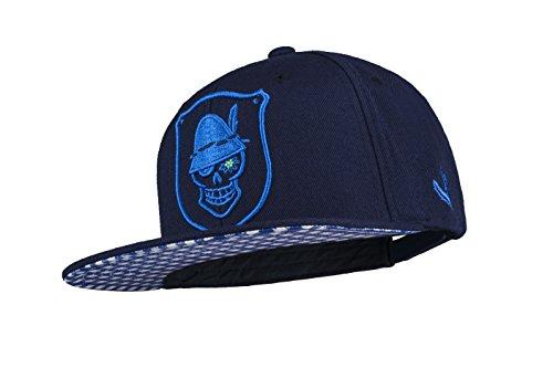 WIESNROCKER I WR1001-2 I Snapback Cap navyblau I 3-D-Stick blau I stylische Schildmütze mit vielen Details I hochwertig I größenverstellbar I unisex
