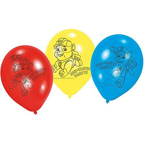 CAPRILO Lote de 24 Globos Infantiles Decorativos de Latex Patrulla Canina . Juguetes y Regalos Fiestas de Cumpleaños, Bodas, Bautizos, Comuniones y Eventos. Decoración Hogar.