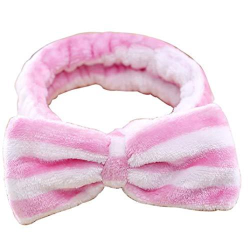 DYSCN Cute Spa Headband - Bow Hair Band Women Facial Makeup Head Band Short En Peluche Head Wraps for Women Shower Washing Face