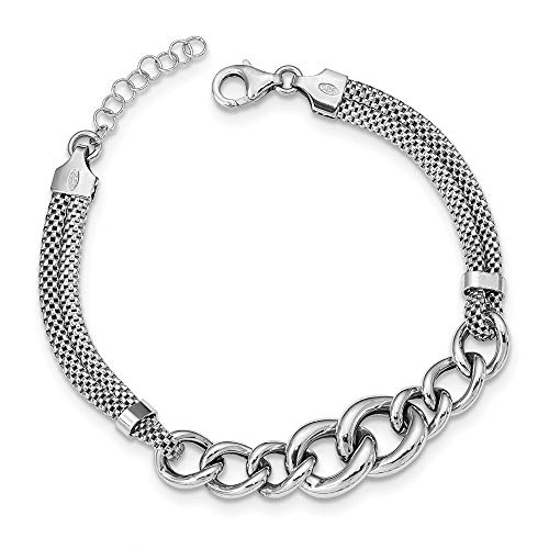 Sterling Silver Rhodium-plated Fancy Chain With 1in Ext. 2-strand Bracelet - 7 Inch