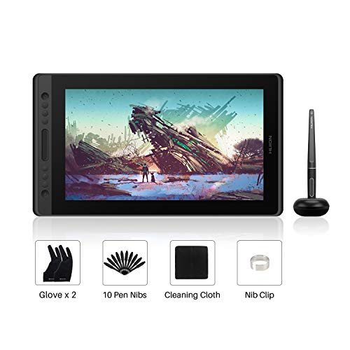 HUION Kamvas Pro 16 15,6-Zoll-IPS-Display Grafiktabletts mit voll laminiertem, blendfreiem Glasbildschirm, 6 anpassbaren Direktaufruftasten, 1 Touch-Leiste-Ideal für Home-Office & E-Learning