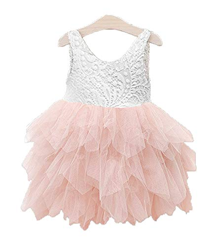 Price comparison product image Topmaker Backless A-line Lace Back Flower Girl Dress (0-6 Month,  Non-Beads-Pink)