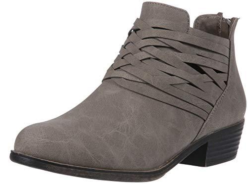 Sugar Women's Rhett Dress Block Heel Ankle Boot, Ladies Back Zip Bootie with Criss Cross Wraparounds Grey 8.5