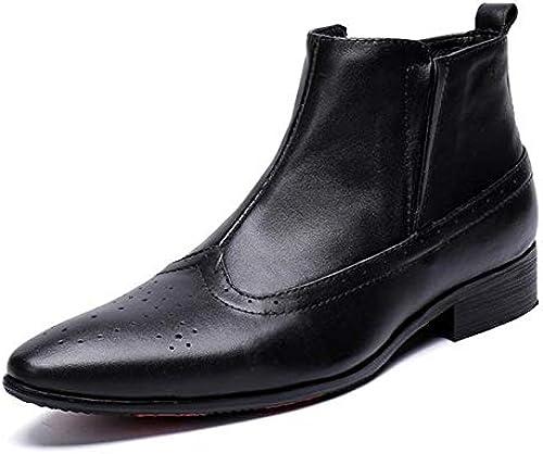 Rui Landed Ankle Stiefel für Mann High Top Stiefel Slip On Stil aus hochwertigem echtem Leder elegant SchwarzBusiness-Stil Nachtclub (Farbe   Schwarz Größe   38 EU)