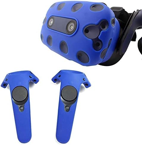 None Soft Anti-Sweat Silicone Controller Cover for HTC Vive Headset VR Glasses Protective Helmet Shockproof Shell Game Accessories (Color : Red for Controller)